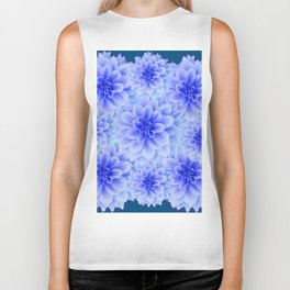 BLUE-WHITE DAHLIA FLOWERS IN  TEAL COLOR Biker Tank