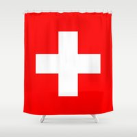 switzerland Shower Curtains featuring Flag of Switzerland by Neville Hawkins
