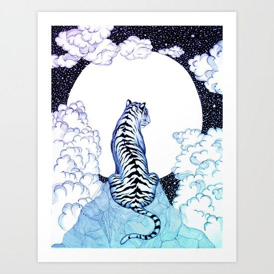 Ombre Tiger Moon Art Print
