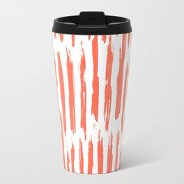 Vertical Dash Deep Coral on White Travel Mug