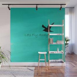 Lets Fly Away - Aqua Wall Mural
