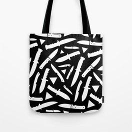 Survival Knives Pattern - White on Black Tote Bag