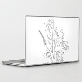 Small Wildflowers Minimalist Line Art Laptop & iPad Skin