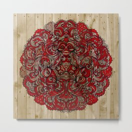 Red Indian Mandala on Wood Metal Print