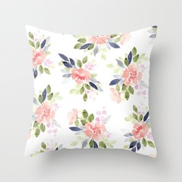 Peach & Nvy Watercolor Flowers Throw Pillow