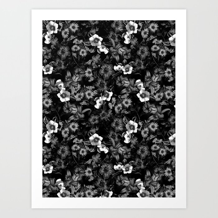 Black and White Floral Pattern Art Print
