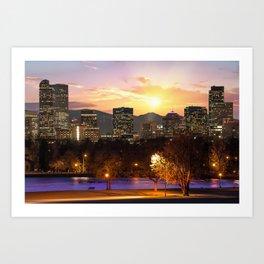 Magical Mountain Sunset - Denver Colorado Downtown Skyline Art Print