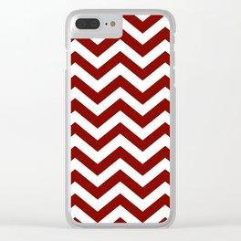 Maroon Chevron Zig Zag Pattern Clear iPhone Case