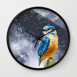 Kingfisher Bird Original Watercolor Painting Design Wall Clock