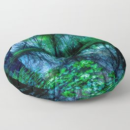 Enchanted Forest Lake Green Blue Floor Pillow