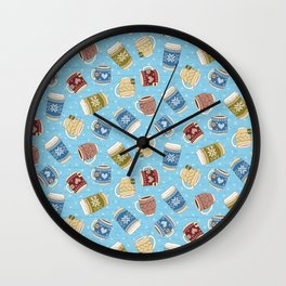 Cozy Mugs - Bg Blue Wood Wall Clock