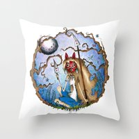 princess mononoke Throw Pillows featuring Princess Mononoke by Jena Sinclair