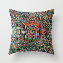 Buddhist Sand Mandala Rainbow 36 Throw Pillow