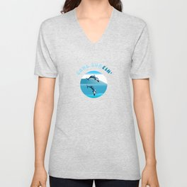 Psychedelic Dolphins Surfing with Text Gone Surfin' Unisex V-Neck