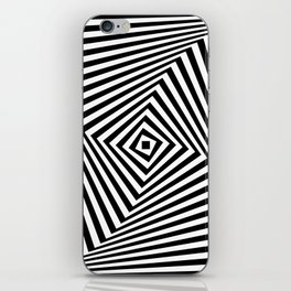 Op art rotating square in black and white iPhone Skin