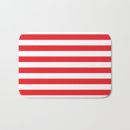 Horizontal Red Stripes Bath Mat