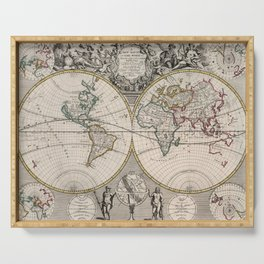 Vintage Map of The World (1721) Serving Tray