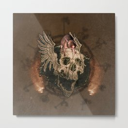 Awesome creepy skull with rat Metal Print