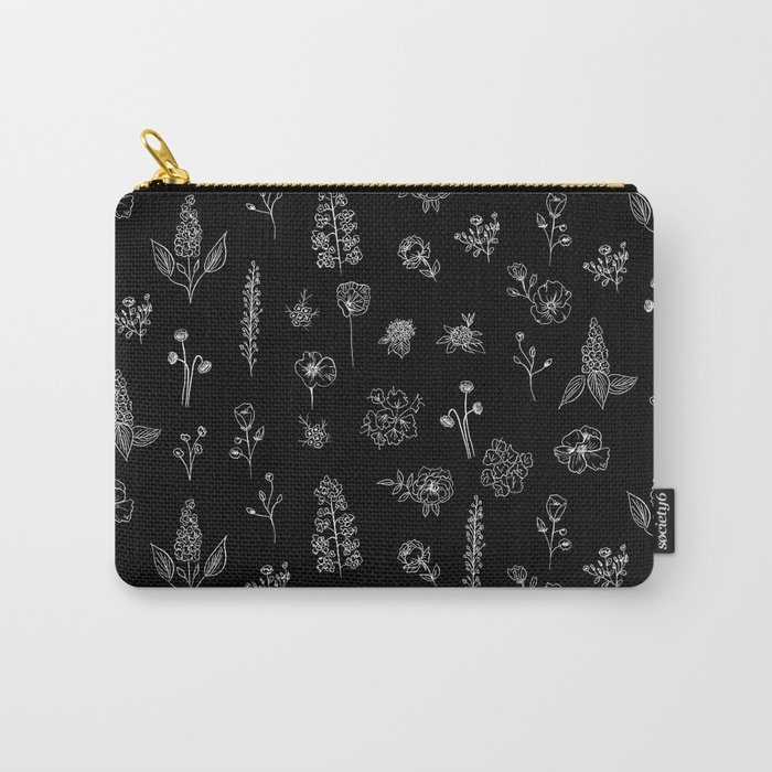 Black Wildflowers S Carry-All Pouch