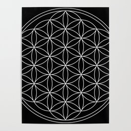 Flower of Life Black & White Poster