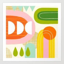 Rise and Shine - Retro Mod Abstract Design Art Print