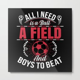 Soccer Girls Children Women Metal Print