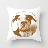 pit bull Throw Pillows featuring Pit Bull by George Peters