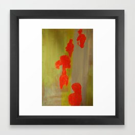 Orange Figurines on Yellow.  Framed Art Print