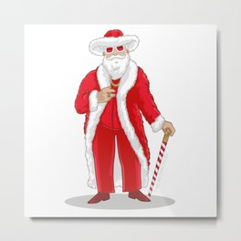 Big Pimpin' Santa Metal Print