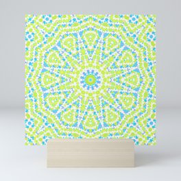 Abstract mosaic pattern .  Lemon color and sky blue . Mini Art Print