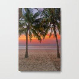 Tropical beach at sunset Metal Print