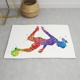 Girl Soccer Player Watercolor Art Colorful Sports Gift Rug