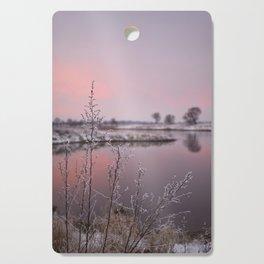 Winter Sunset At River Bank Cutting Board