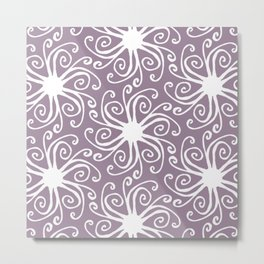 Purple and White Boho Pattern  Metal Print