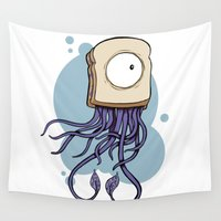 jelly fish Wall Tapestries featuring Peanut butter jelly fish by welldunn