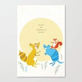 Raccoon and Armadillo Singing Canvas Print