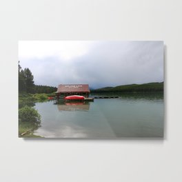 Maligne Lake Boathouse Metal Print