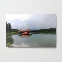 Maligne Lake Boathouse Metal Print