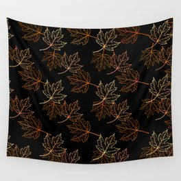 Maple Leaf (Black Glow) - Crisp Wall Tapestry