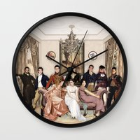 pride and prejudice Wall Clocks featuring Pride and Prejudice and Werewolves by DeadPlants