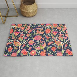 Blooming Paradise Garden Pattern on Dark Blue Rug