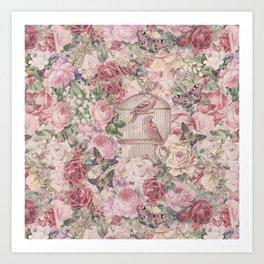 Romantic Flower Pattern And Birdcage Art Print