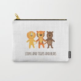 Lions and Tigers and Bears. Cute Papercut Animals in Brown, Orange, and Yellow on White Solid Carry-All Pouch