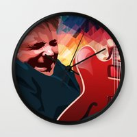 marty mcfly Wall Clocks featuring Marty McFly by Stephanie Keir