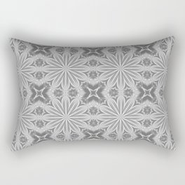 Gray Delicate Flowers Pattern Rectangular Pillow