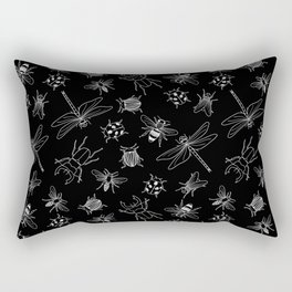 Vector seamless black and white pattern of different hand drawn doodle isolated insects Rectangular Pillow