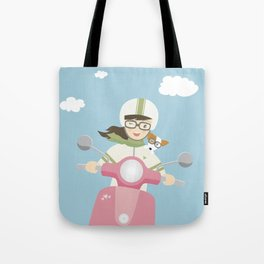 Scooter Girl with Dog Illustration Tote Bag