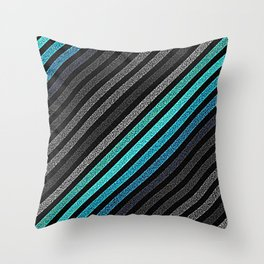 stripeS : Slate Gray Teal Blue Pixels Throw Pillow