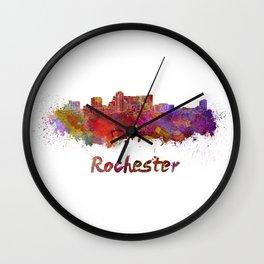 Rochester MN skyline in watercolor Wall Clock