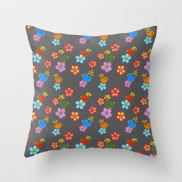 Silly Bird Floral on Grey Throw Pillow